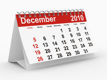 2010 year calendar. December. Isolated 3D image Royalty Free Stock Photo
