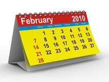 2010 year calendar. February. Isolated 3D image Royalty Free Stock Photography