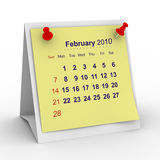 2010 year calendar. February. Isolated 3D image Royalty Free Stock Images