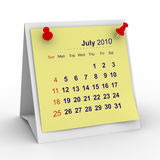 2010 year calendar. July. Isolated 3D image Royalty Free Stock Photography