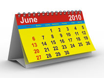 2010 year calendar. June. Isolated 3D image Stock Photography