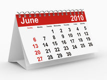 2010 year calendar. June Royalty Free Stock Photos