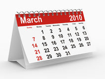 2010 year calendar. March. Isolated 3D image Royalty Free Stock Image