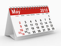2010 year calendar. May. Isolated 3D image Royalty Free Stock Photos