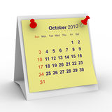 2010 year calendar. October. Isolated 3D image vector illustration