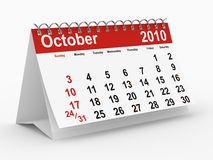 2010 year calendar. October. Isolated 3D image stock illustration