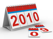2010 year calendar on white backgroung. Isolated 3D image Royalty Free Stock Photos