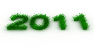 2010 year from grass. Isolated 3D image royalty free illustration