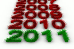 2010 year from grass. Isolated 3D image vector illustration