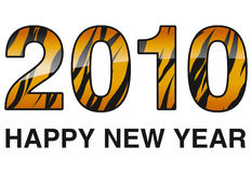 2010 year of tiger. Digits 2010 with tiger skin and glossy effect Stock Photo