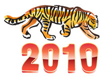 2010 year of tiger. Vector illustrration of digits 2010 with walking tiger Stock Images