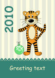 2010 year of tiger. Cute greeting card for new 2010 year, year of tiger Stock Photography