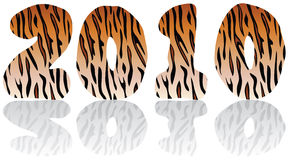 2010 year of the tiger. Abstract holiday background with tiger skin numbers Royalty Free Stock Photos