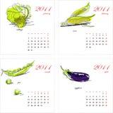 2011个日历模板蔬菜 免版税库存图片