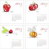 2011个日历模板蔬菜 免版税库存照片
