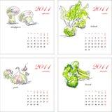 2011个日历模板蔬菜 图库摄影