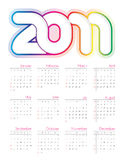 2011五颜六色的日历 图库摄影