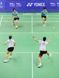 2011年亚洲羽毛球冠军双混合 库存照片