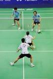 2011年亚洲羽毛球混合的冠军双 免版税库存照片