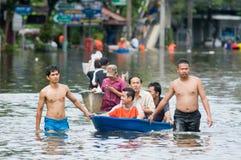 2011年曼谷洪水季风10月 图库摄影