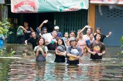 2011年曼谷洪水季风10月 库存图片