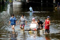 2011年曼谷洪水季风10月 免版税库存照片