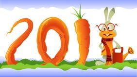 2011年红萝卜卷曲愉快的兔子 库存照片