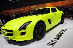 2011年amg电池e日内瓦汽车展示会sls 免版税库存照片