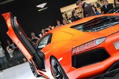 2011年aventador日内瓦lamborghini汽车展示会 库存照片