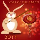 2011 år för kanin för kinesisk lycklig holdinglykta nya stock illustrationer