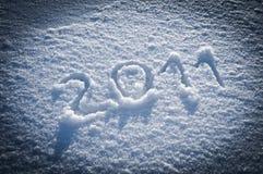 An 2011 écrit dans la neige Photo stock