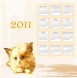 2011 рука нарисованная календаром Стоковое Изображение RF