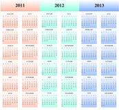 2011, 2012, 2013 calendarios Fotografía de archivo