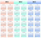 2011, 2012, 2013 kalenders Stock Fotografie