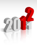 2011-2012 change. Red and silver elegance New Year 2012 wallpaper for background and design Stock Photos