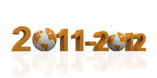 2011-2012 with earth. Orange date 2011 to 2012  with 3D globe replacing number 0 Stock Image