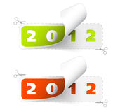 2011 / 2012 new year stickers. Green and red Royalty Free Stock Photo