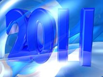 2011 in 3d. An illustrated background with a blue 3D design of 2011 Royalty Free Stock Image