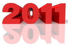 2011 3d in red and grey. 3d colour figures like  makes 2011 over white background Royalty Free Stock Photos