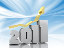 2011 - 3d Year. Year 2011 - Success Gold Arrow Sign Stock Photos