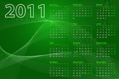 2011 Abstract Calendar. 2011 calendar on abstract background with lines and waves, green tones stock illustration
