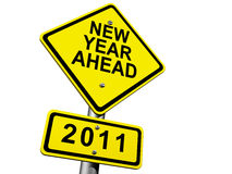 2011 Ahead. Road Sign Indicating New Year 2011 Ahead Vector Illustration