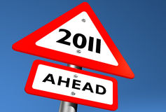 2011 Ahead. Road Sign Indicating 2011 Ahead Royalty Free Stock Images
