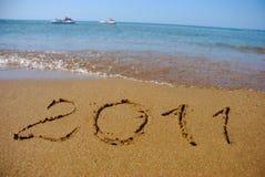 2011 alla spiaggia del mare Fotografia Stock