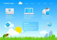 2011 asuntos cómodos/cartoo del eco moderno del Web site stock de ilustración
