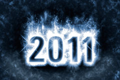 2011 background. Happy New Year 2011 background, blue energy flames wrapping around digits in the dark, effect of magic spell Vector Illustration