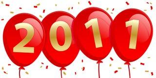2011 ballons d'an neuf illustration de vecteur