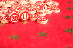 2011 - bingo numbers. On red background Stock Photo