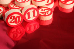 2011- bingo numbers. On red background Royalty Free Stock Image