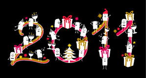 2011 on black background. Vector hand drawn cartoon characters Royalty Free Stock Photo